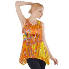 Crazy Patterns In Yellow Side Drop Tank Tunic
