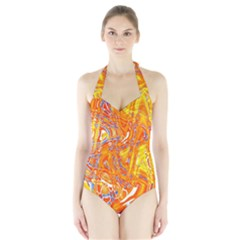 Crazy Patterns In Yellow Halter Swimsuit