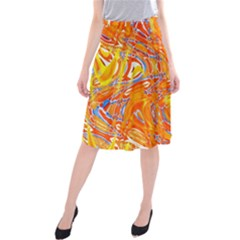 Crazy Patterns In Yellow Midi Beach Skirt
