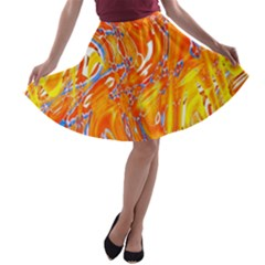 Crazy Patterns In Yellow A-line Skater Skirt