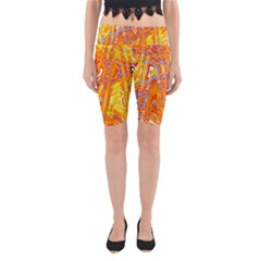 Crazy Patterns In Yellow Yoga Cropped Leggings