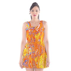 Crazy Patterns In Yellow Scoop Neck Skater Dress