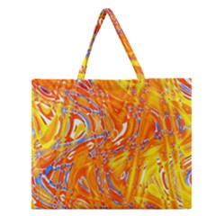 Crazy Patterns In Yellow Zipper Large Tote Bag
