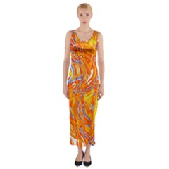 Crazy Patterns In Yellow Fitted Maxi Dress