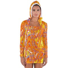 Crazy Patterns In Yellow Women s Long Sleeve Hooded T-shirt
