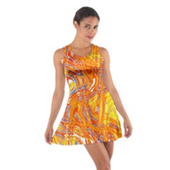 Crazy Patterns In Yellow Cotton Racerback Dress