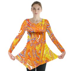 Crazy Patterns In Yellow Long Sleeve Tunic