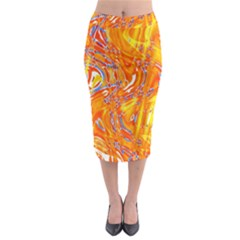 Crazy Patterns In Yellow Midi Pencil Skirt