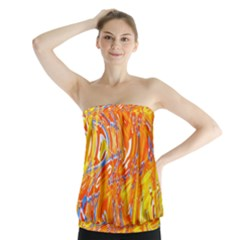Crazy Patterns In Yellow Strapless Top