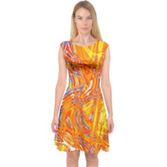 Crazy Patterns In Yellow Capsleeve Midi Dress