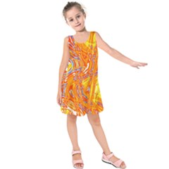 Crazy Patterns In Yellow Kids  Sleeveless Dress