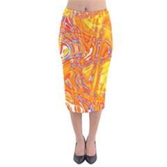 Crazy Patterns In Yellow Velvet Midi Pencil Skirt