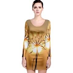 Dandelion Sun Dew Water Plants Long Sleeve Bodycon Dress