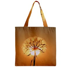 Dandelion Sun Dew Water Plants Zipper Grocery Tote Bag