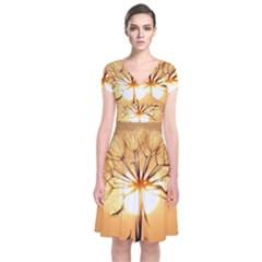 Dandelion Sun Dew Water Plants Short Sleeve Front Wrap Dress
