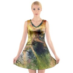 Decoration Decorative Art Artwork V Neck Sleeveless Skater Dress