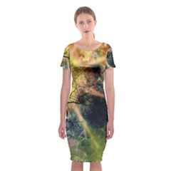Decoration Decorative Art Artwork Classic Short Sleeve Midi Dress