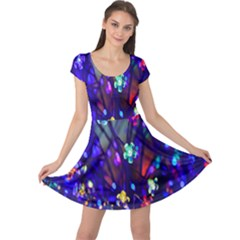 Decorative Flower Shaped Led Lights Cap Sleeve Dresses