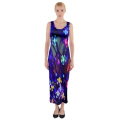 Decorative Flower Shaped Led Lights Fitted Maxi Dress
