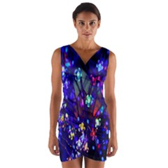 Decorative Flower Shaped Led Lights Wrap Front Bodycon Dress