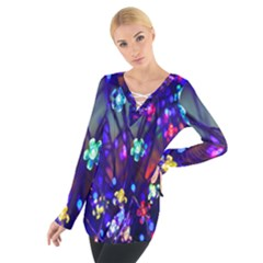 Decorative Flower Shaped Led Lights Women s Tie Up Tee