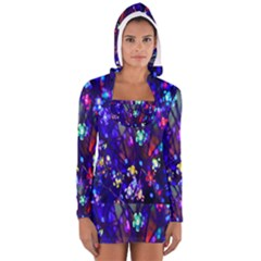 Decorative Flower Shaped Led Lights Women s Long Sleeve Hooded T-shirt
