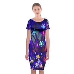 Decorative Flower Shaped Led Lights Classic Short Sleeve Midi Dress