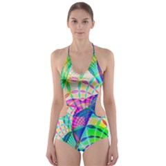 Design Background Concept Fractal Cut-Out One Piece Swimsuit