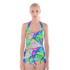 Design Background Concept Fractal Boyleg Halter Swimsuit