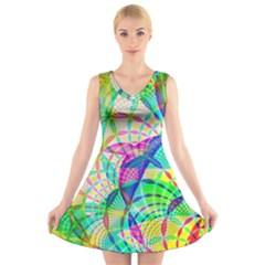 Design Background Concept Fractal V Neck Sleeveless Skater Dress