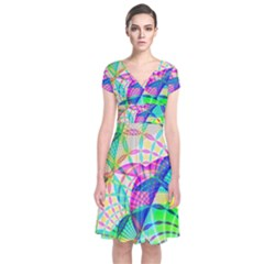 Design Background Concept Fractal Short Sleeve Front Wrap Dress