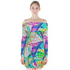 Design Background Concept Fractal Long Sleeve Off Shoulder Dress