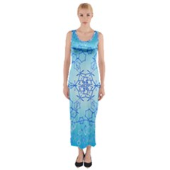Design Winter Snowflake Decoration Fitted Maxi Dress