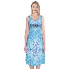 Design Winter Snowflake Decoration Midi Sleeveless Dress