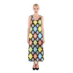 Diamonds Argyle Pattern Sleeveless Maxi Dress