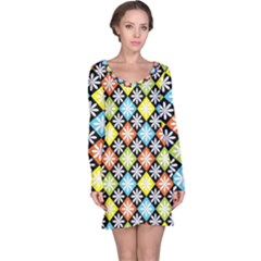 Diamonds Argyle Pattern Long Sleeve Nightdress