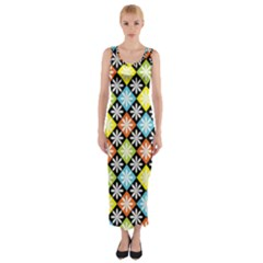 Diamonds Argyle Pattern Fitted Maxi Dress