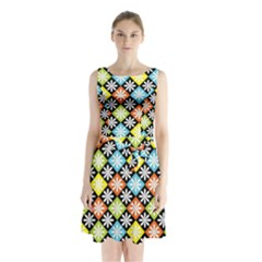 Diamonds Argyle Pattern Sleeveless Chiffon Waist Tie Dress