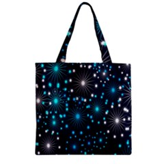 Digitally Created Snowflake Pattern Zipper Grocery Tote Bag