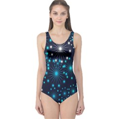 Digitally Created Snowflake Pattern One Piece Swimsuit