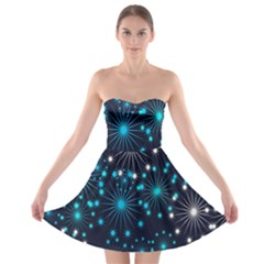 Digitally Created Snowflake Pattern Strapless Bra Top Dress