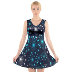 Digitally Created Snowflake Pattern V Neck Sleeveless Skater Dress