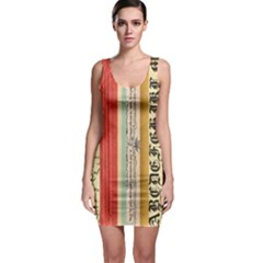 Digitally Created Collage Pattern Made Up Of Patterned Stripes Sleeveless Bodycon Dress