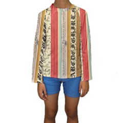 Digitally Created Collage Pattern Made Up Of Patterned Stripes Kids  Long Sleeve Swimwear