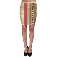 Digitally Created Collage Pattern Made Up Of Patterned Stripes Bodycon Skirt