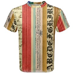 Digitally Created Collage Pattern Made Up Of Patterned Stripes Men s Cotton Tee