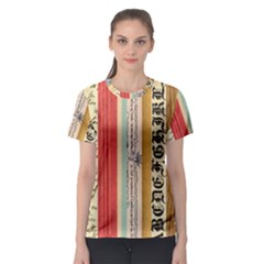 Digitally Created Collage Pattern Made Up Of Patterned Stripes Women s Sport Mesh Tee