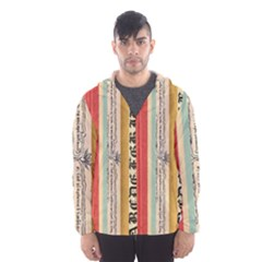 Digitally Created Collage Pattern Made Up Of Patterned Stripes Hooded Wind Breaker (Men)