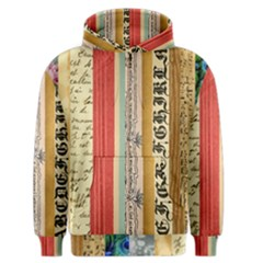 Digitally Created Collage Pattern Made Up Of Patterned Stripes Men s Zipper Hoodie
