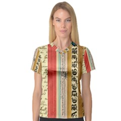Digitally Created Collage Pattern Made Up Of Patterned Stripes Women s V Neck Sport Mesh Tee